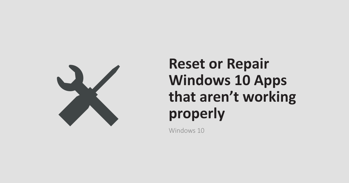 reset or repair windows apps