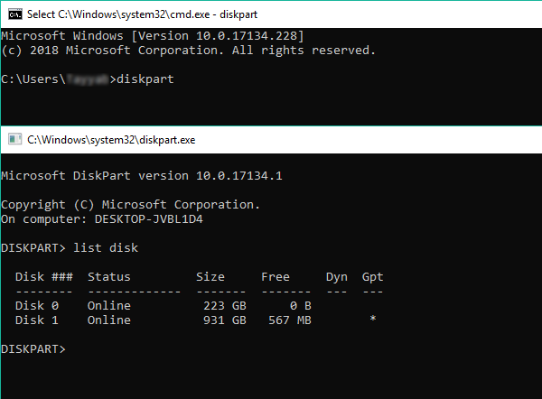 windows 10 diskpart and list disk