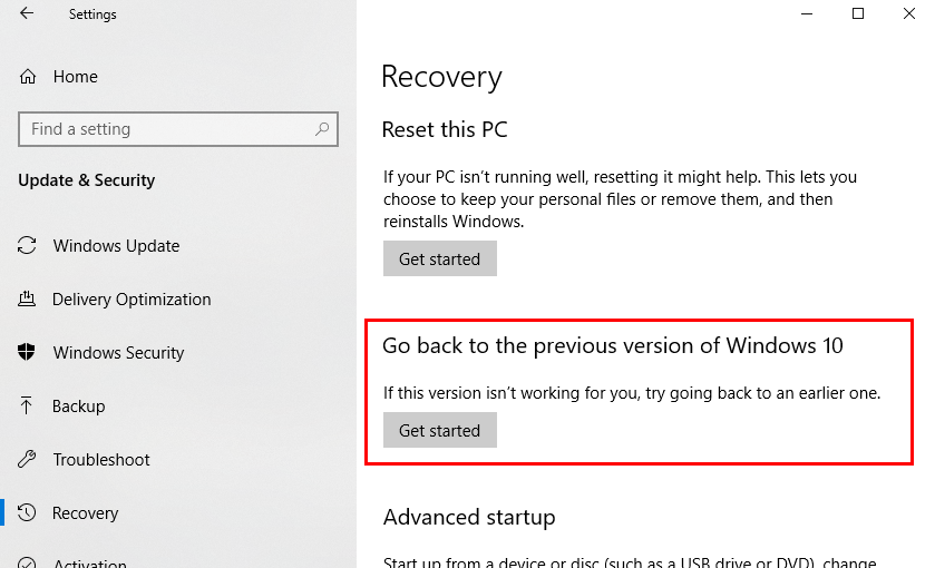 Windows recovery go back to previous version