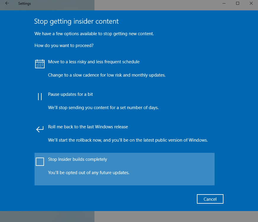 opt out from windows 10 insider program