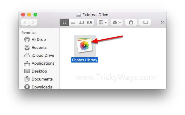 mac photos library external drive