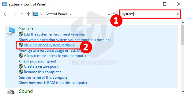 advanced system settings windows 10