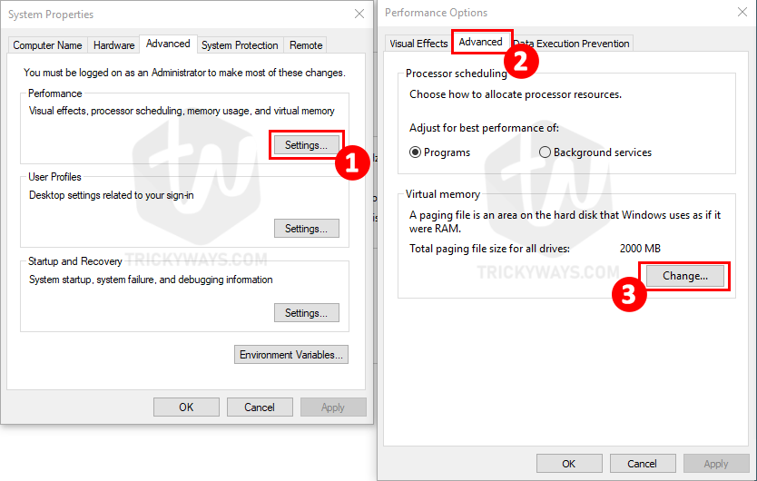 manage virtual memory windows
