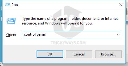 run window control panel