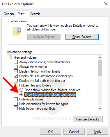 show hidden files folders and drives windows 10