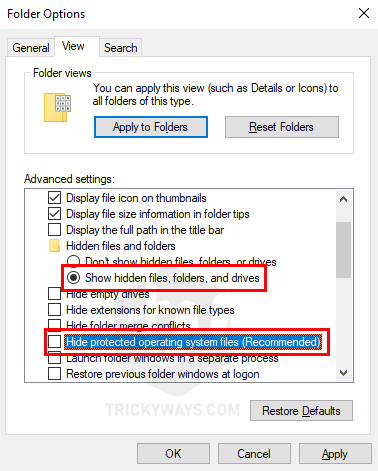 show protected operating system files Windows