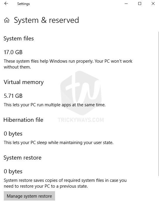 windows 10 storage system and reserved
