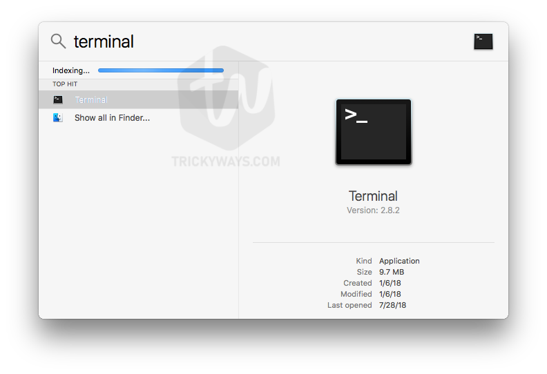 mac spotlight terminal