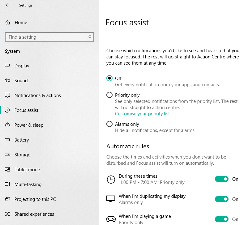 Windows focus assist settings