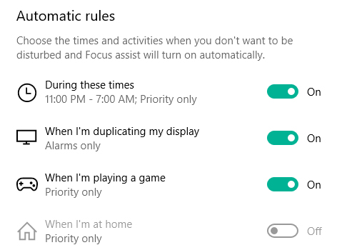 Configure automatic rules in focus assist