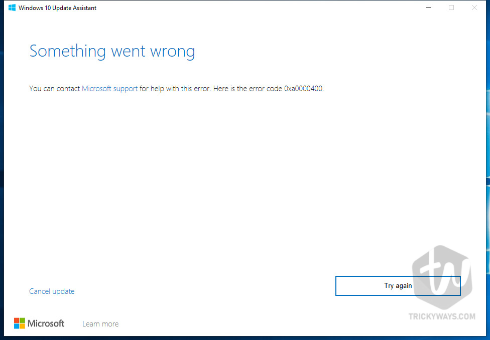 Fix Windows 10 Upgrade error 0xa0000400 [Windows Update Assistant]