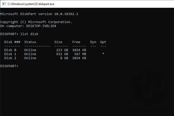 Command Prompt list disk