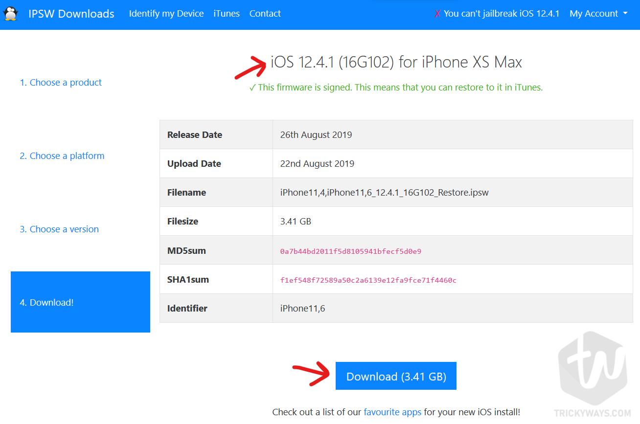 download ipsw 12 4 1 signed