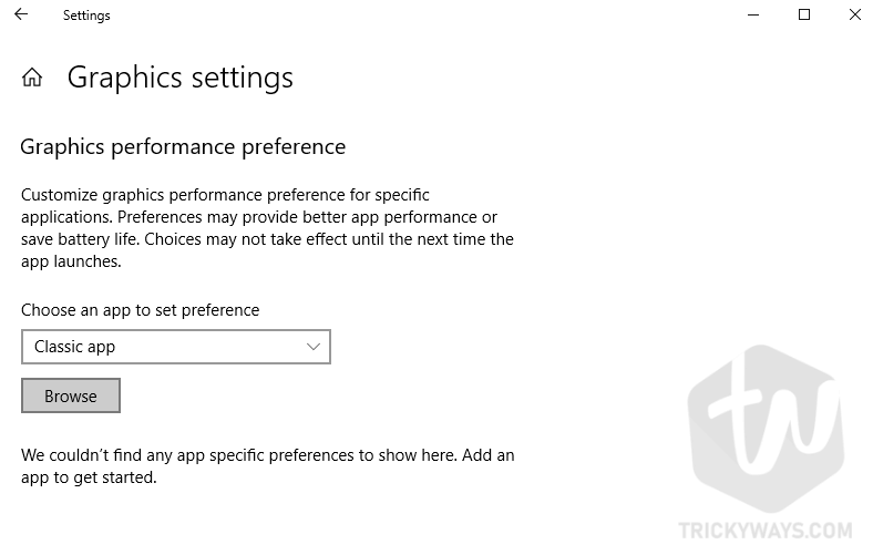 graphics performance preferences
