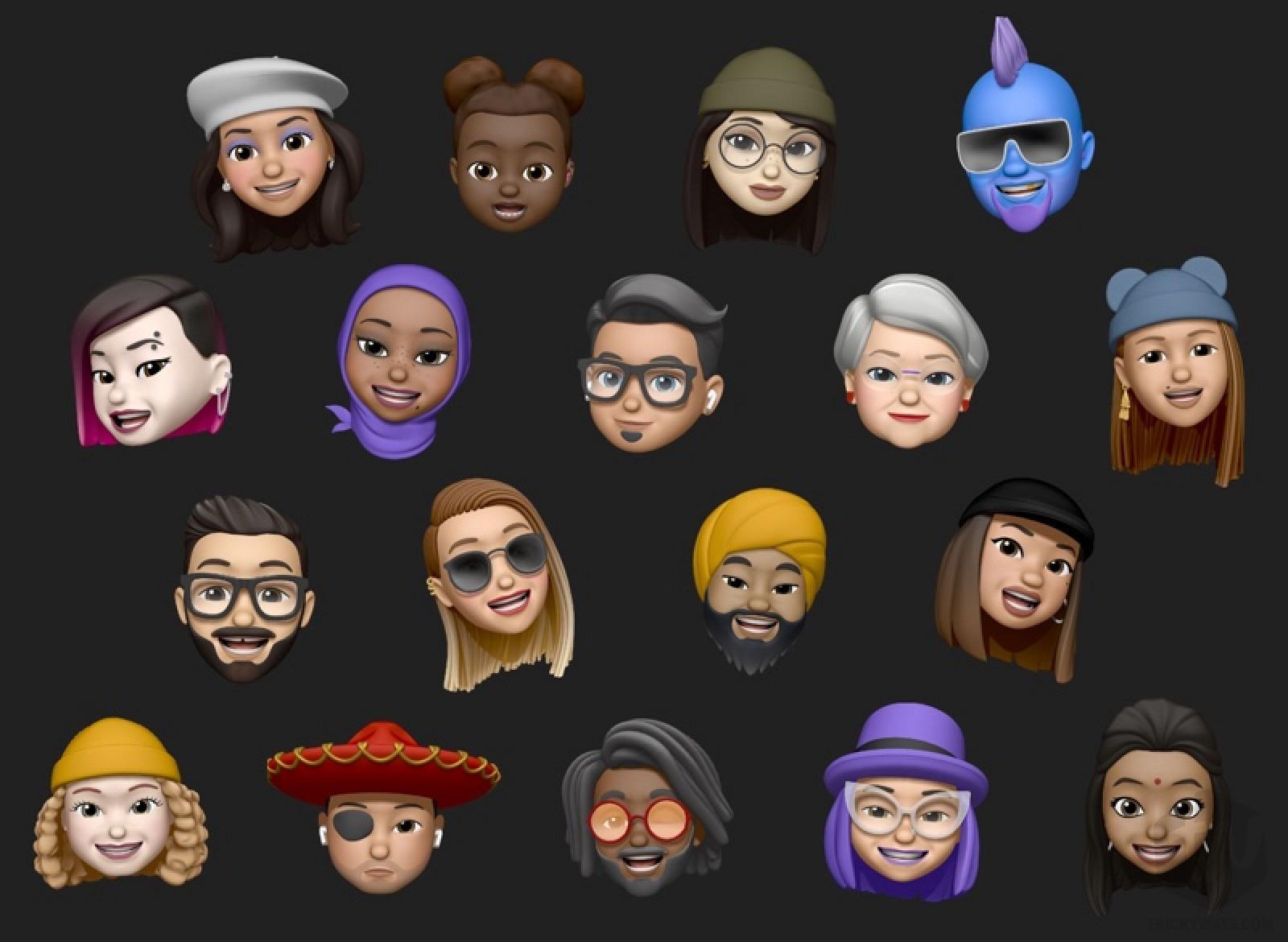 iOS 13 customize the Memoji add nose pierce, earrings, head wears, glasses