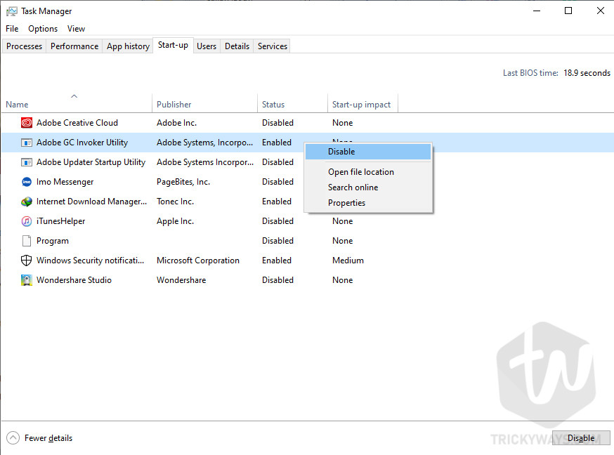 Disable start-up apps from the task manager