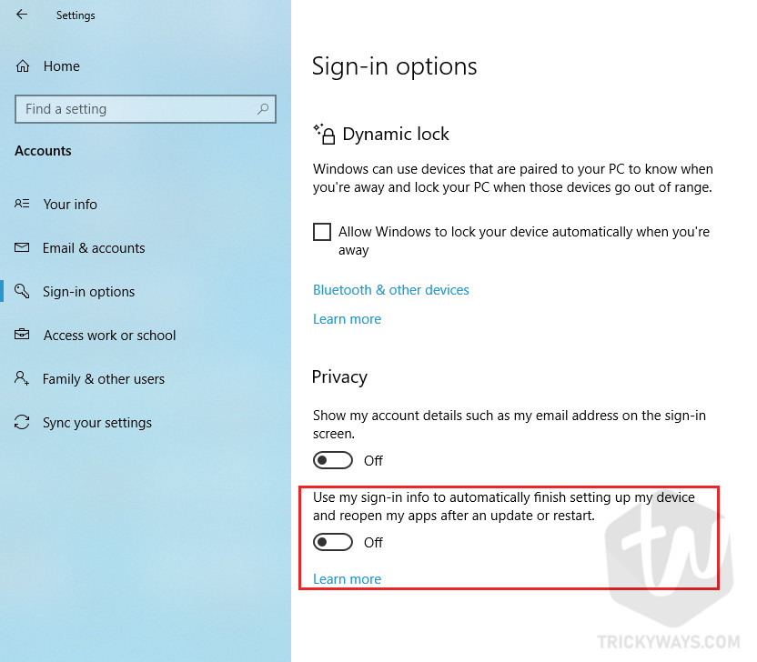 Windows 10 Privacy Section