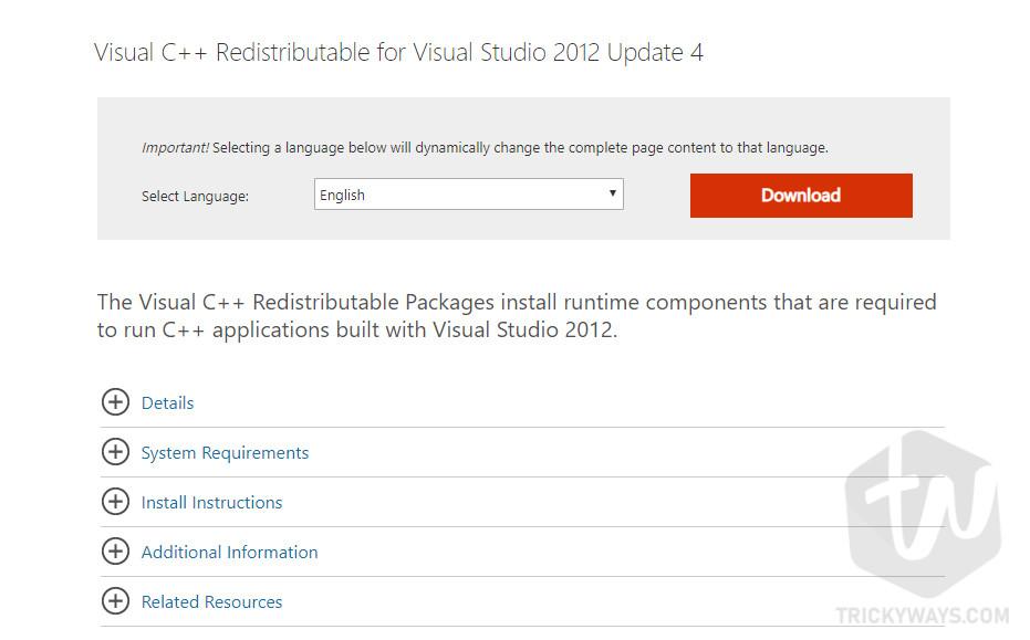 Install Microsoft Visual C++ Redistributable
