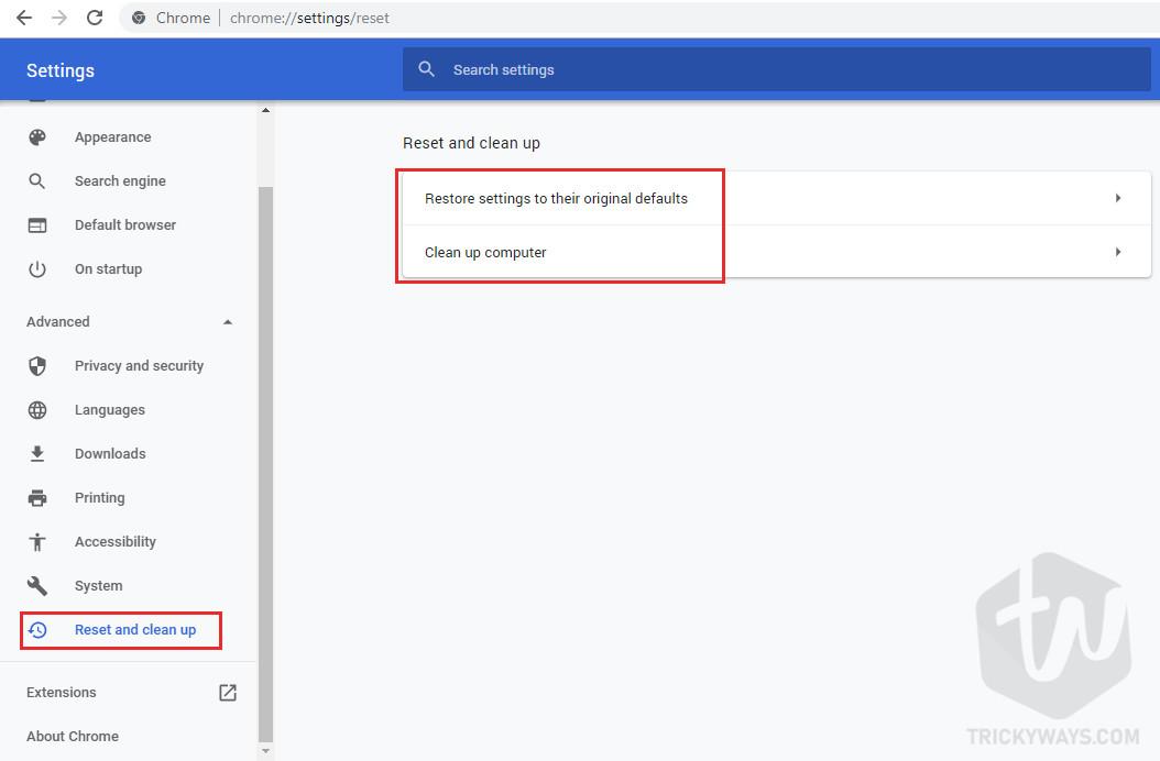 Restore settings to their original defaults