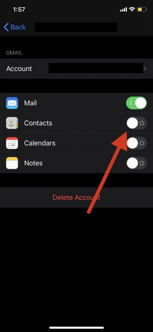 iPhone - enable contacts in google account