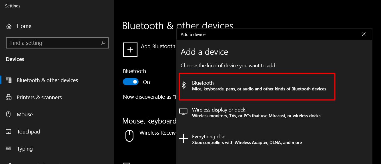 Add a New bluetooth Device windows