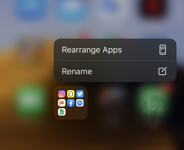 rearrange apps on ios 13