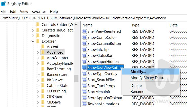 windows 10 registry show taks view button