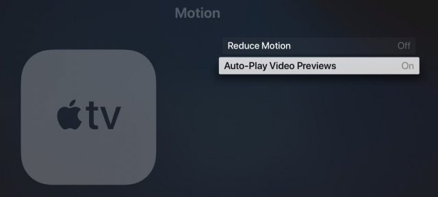 apple tv turn off autoplay video previews