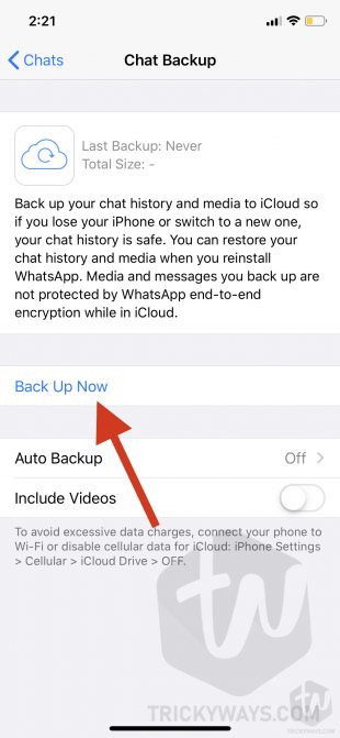 whatsapp chat backup now on iphone