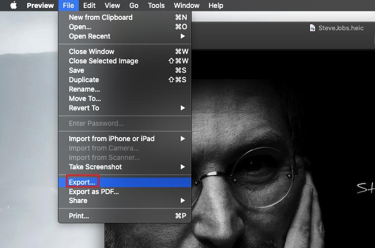 exporting heic image as jpg