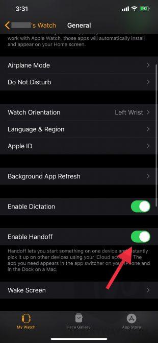 turn on handoff apple watch