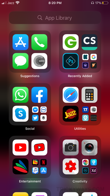 iOS 14 app library iphone
