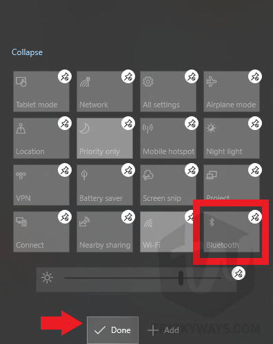bluetooth icon added to notification area