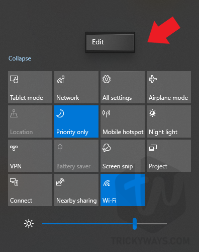 edit action center icons
