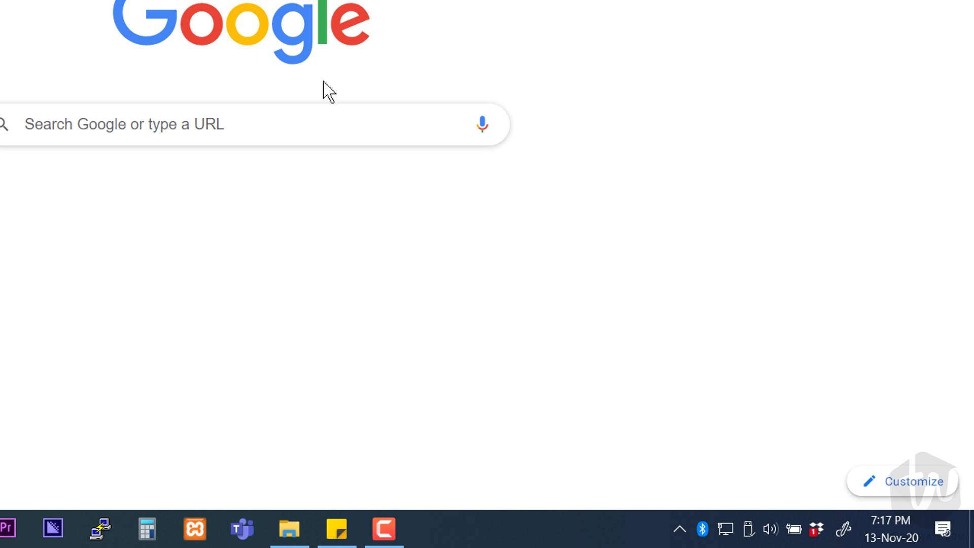 in the chrome browser click the customize button