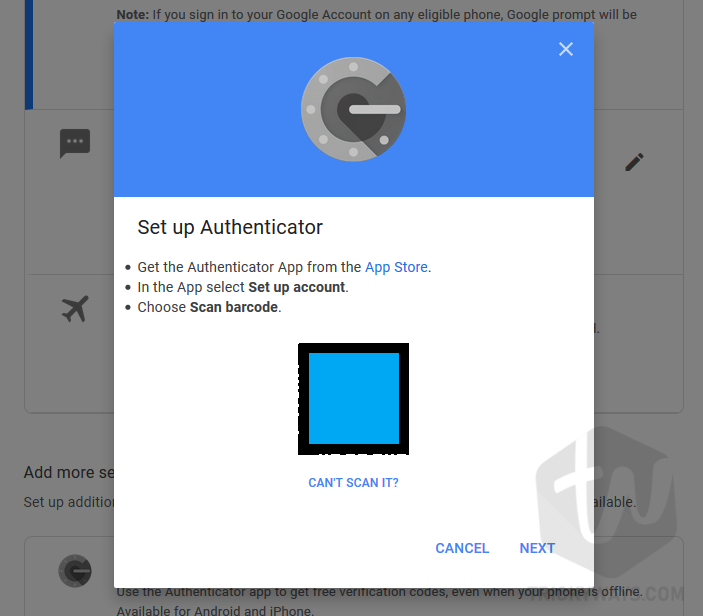 scan barcode google authenticator